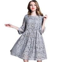 Europe Station 2016 Autumn Lace Dress Woman Plus Size Elegance Dress Feminine Dresses Half Sleeve Thin