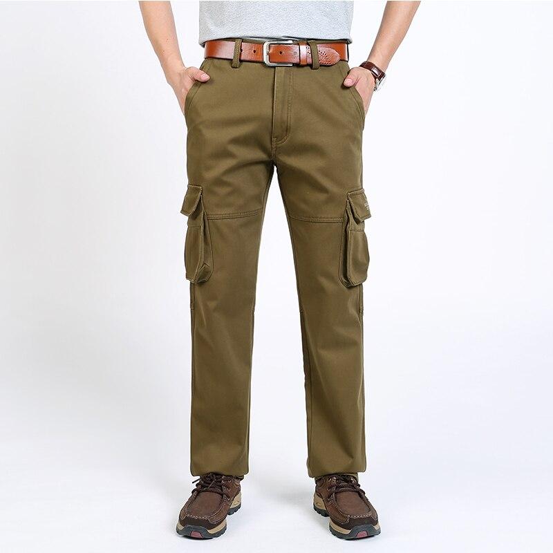 2018 Cotton Winter Pants Warm Fleece Long Straight Cargo Pants Fashion Trousers Mens Work Pants Fleece Trousers ...
