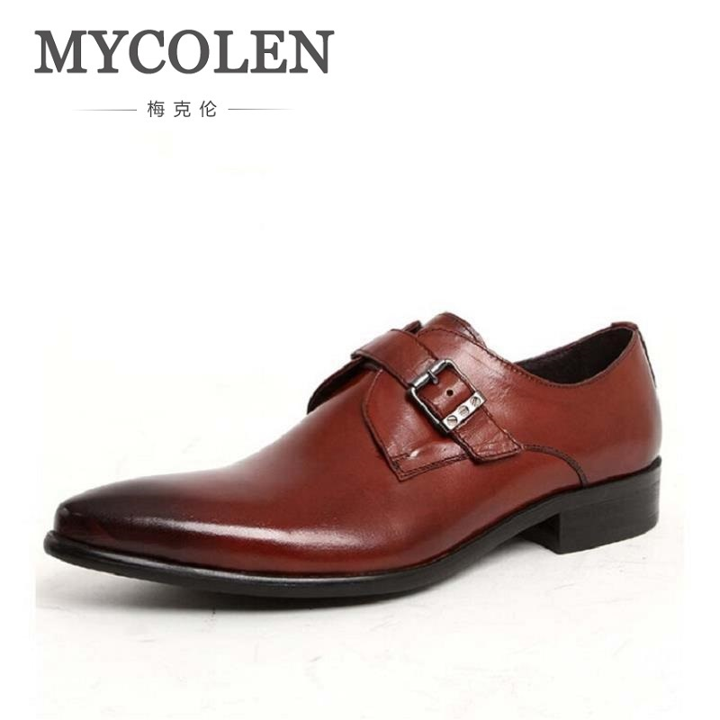 MYCOLEN Mens Shoes Genuine Leather Black Brown Fashion Formal Business Male Shoes Pointed Toe Men Dress Shoes Zapatillas Hombre new 2018 fashion men dress shoes black cow leather pointed toe male oxfords business shoes lace up men formal shoes yj b0034