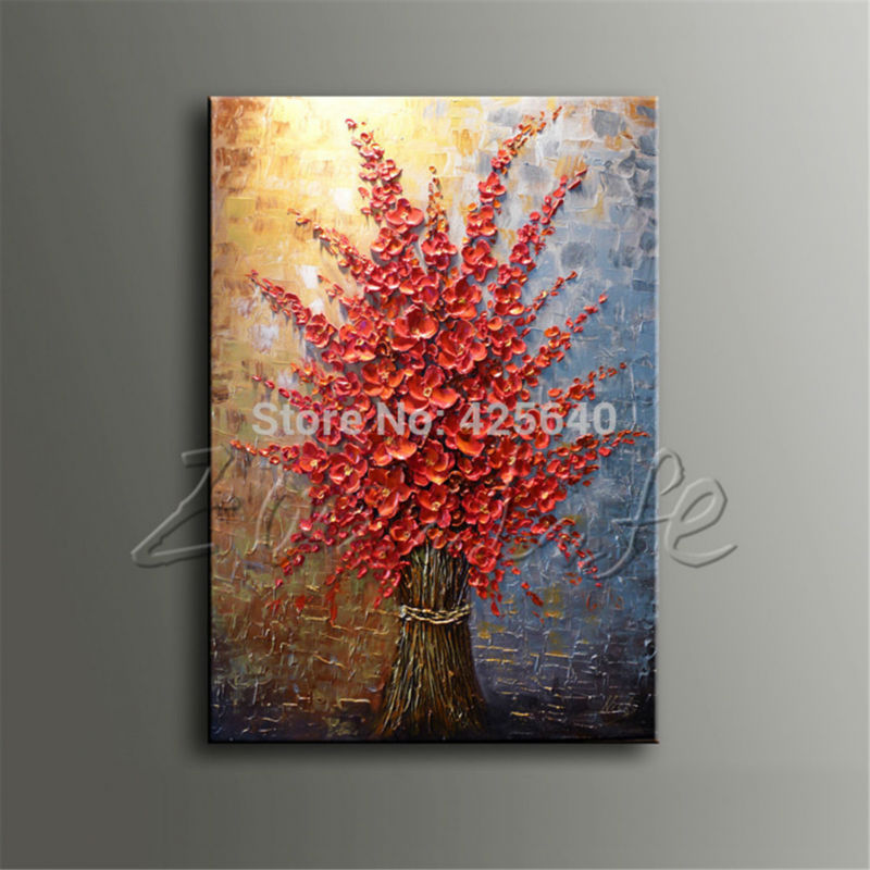 Hand Painted Palette font b Knife b font Colorful Flowers Oil Painting Cuadros Wall Art Canvas
