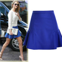 2019 Women Summer High Waist Skirt Stitching Fishtail Mini Chiffon