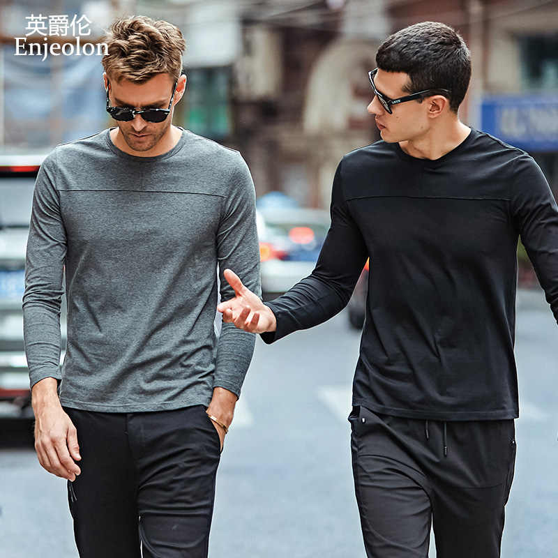 Enjeolon top brand casual t shirts man long sleeve cotton solid base Clothing Tops Tee Plus size S 3XL free shipping RST7003-1