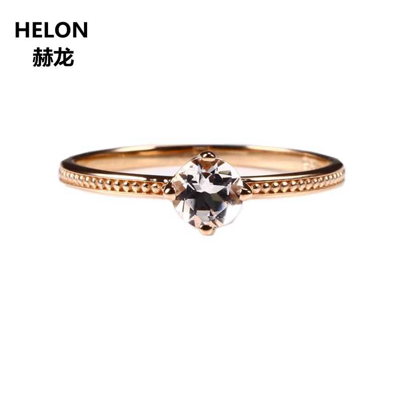 Solid 14k Rose Gold Wedding Ring 4 5MM Round Cut Natural Morganite  Engagement Ring for Women Millgrain Fine Jewelry Romantic
