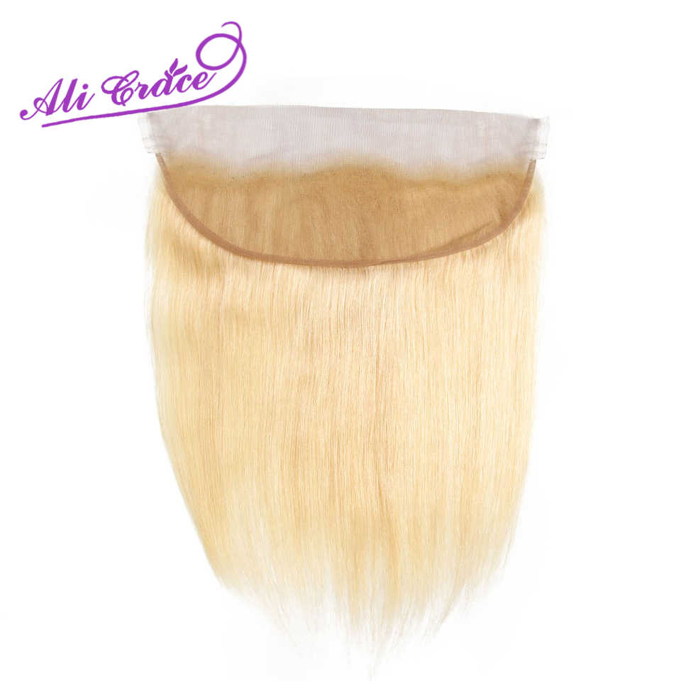Ali Grace Hair Peruvian Blonde Bundles With Frontal 13*4 Ear to Ear Remy Blonde Straight Hair 613 Blonde Bundles With Frontal