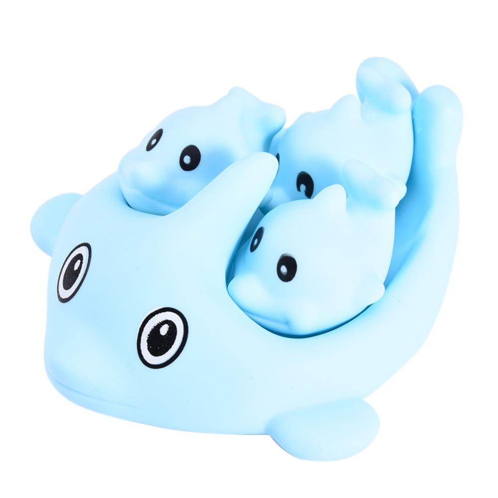 4pc/lot Cartoon Dolphin Shape Baby Bath Toys Children\'s Bathing ...