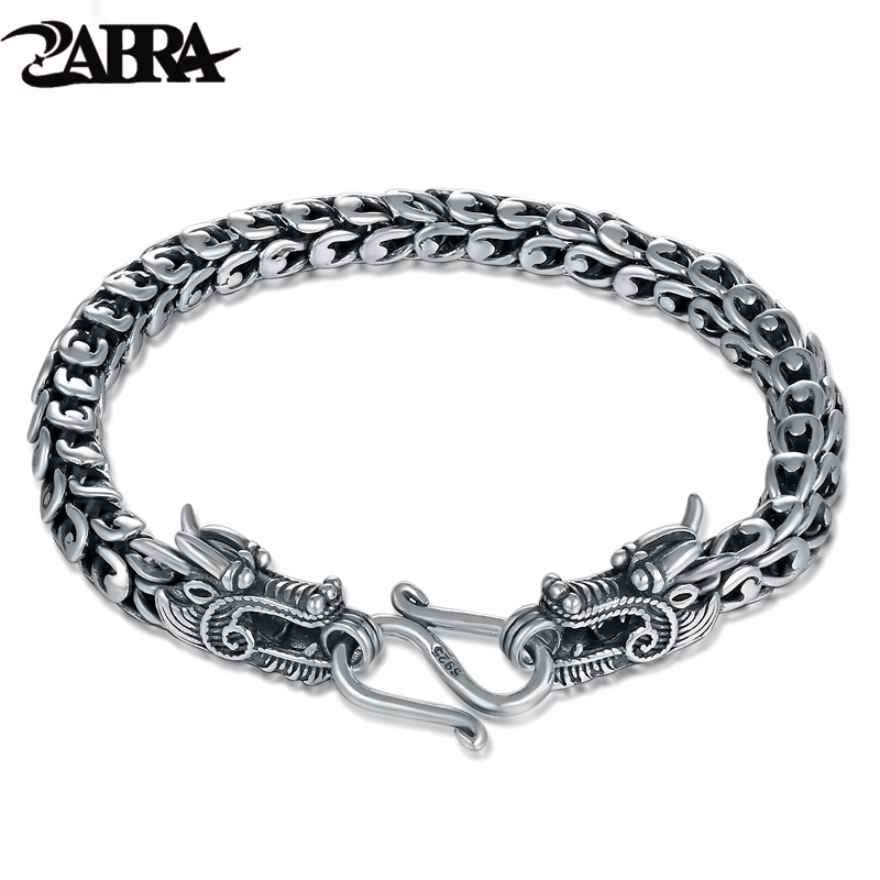 ZABRA Genuine 925 Sterling Silver Couple Dragon Bracelet Men Vintage Punk Rock Bracelets Biker Gothic Jewelry Pulsera Hombre zabra luxury 925 silver bracelets men vintage punk crown mens skull bracelet biker gothic sterling silver jewelry erkek bileklik