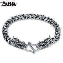 Zabra из натуральной 925 серебро пара дракон браслет мужские винтажные панк-рок браслеты Байкер Готический ювелирные изделия Pulsera Hombre