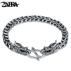 ZABRA Genuine 925 Sterling Silver Couple Dragon Bracelet Men Vintage Punk Rock Bracelets Biker Gothic Jewelry Pulsera Hombre