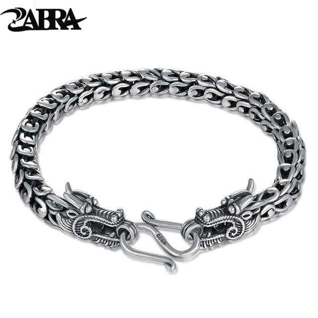 Zabra Genuine 925 Sterling Silver Dragon Bracelet Men Vintage Punk Rock Bracelets Biker Gothic Jewelry