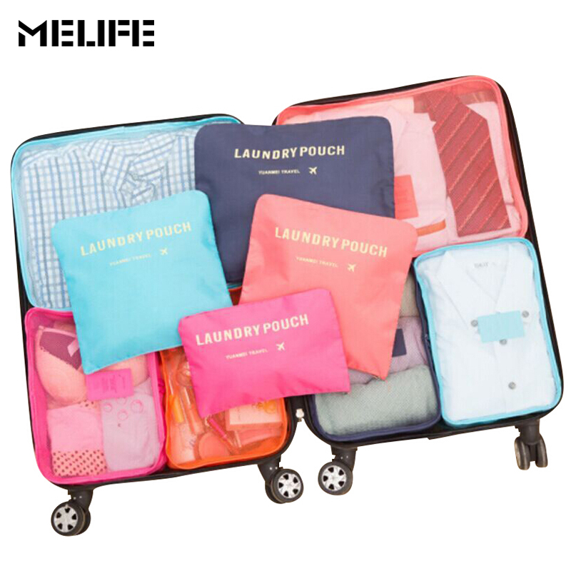 MELIFE 6 Pcs/set Travel Luggage bag Organizers Packing cubes Men women Fashion High-quality Double Zipper Waterproof Mesh bags