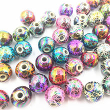 50Pcs Mixed AB Colourful Spacer Beads Round Stripe Acrylic Fashion Jewelry DIY Findings 12mm