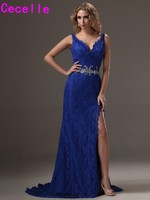 2017 On Sale Royal Blue Sheath V neck Sleeveless Lace Evening Dresses Gowns With Straps Sexy Slit Low Back Social Occasion Dress