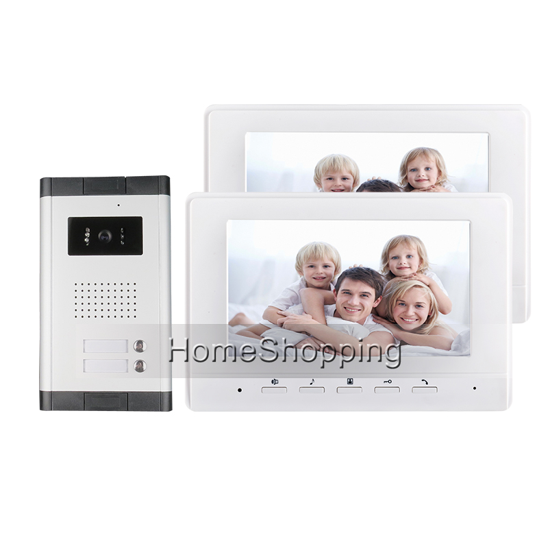 цена на Fress Shipping 7 Color Screen Video Door Phone Intercom System + 2 Monitor + 1 Doorbell Camera for 2 House Family FREE SHIPPING