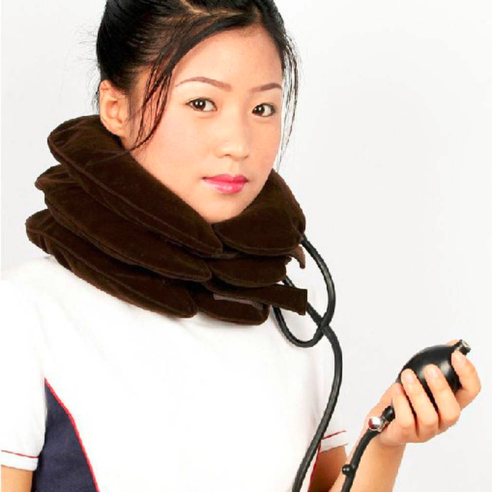 1pc High Quality Air Cervical Neck Traction Soft Brace Device Unit for Headache Back Shoulder Neck Pain Health Care Best neck cervical traction collar device brace support hard plastic for headache neck pain hight adjustable one size fit most