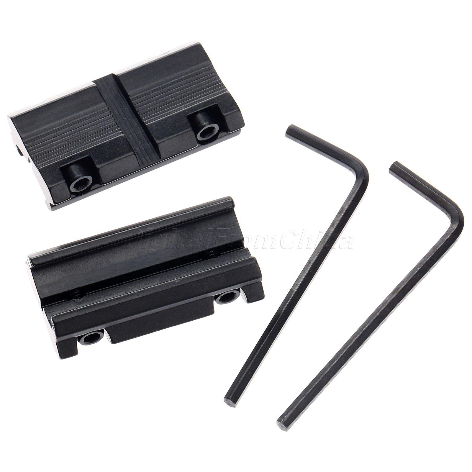 2 Unids Anillo Convertidor Con 3/8 11mm Dovetail A 7/8 20mm Weaver Rail Adaptador de Caza Accesorios de Bajo Perfil Alcance montajes 1 par