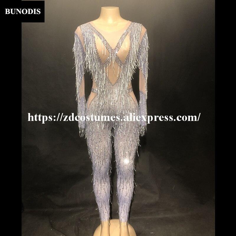 Mousseux Danseur Body Stage Porter Costumes Zd419 Femmes Discothèque Chanteur Gland Sexy Argent Bling Cristaux Salopette Parti Nvnwy08mO