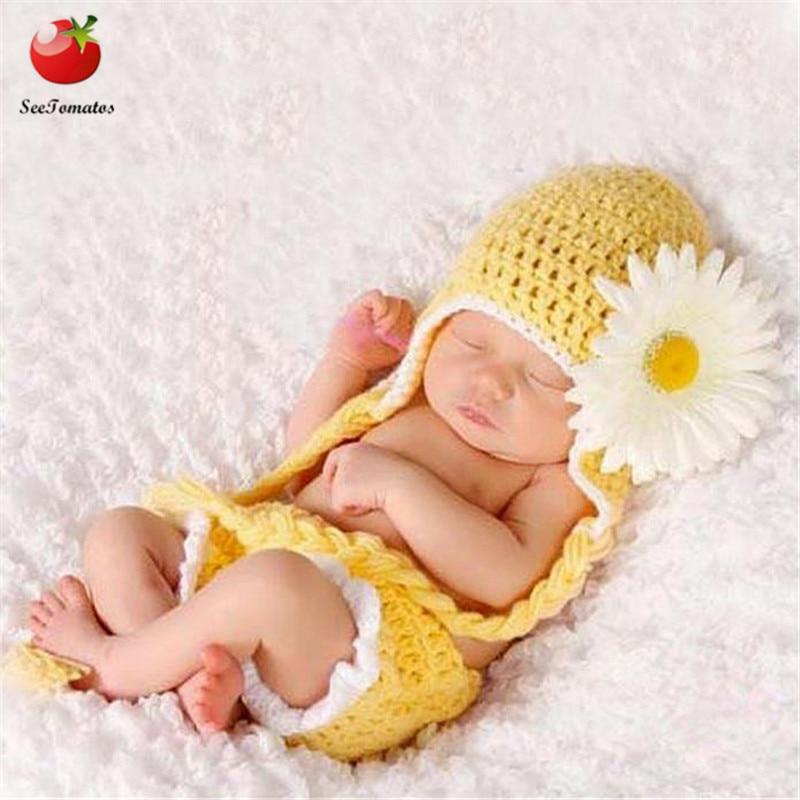 c7b6d284376a4 2pcs/Set Newborn Photography Props Handmade Infant Outfits Winter ...