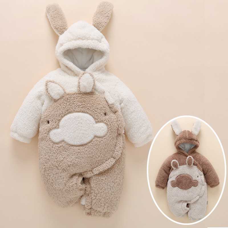 a54fb294388e Best buy Thick baby clothes winter warm set 2017 newborn boy girl romper  hat rabbit Hooded Outwear jumpsuit roupa infantil menina 0 3 6 online cheap