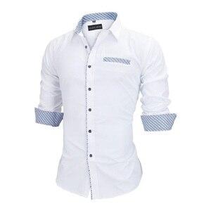 Image 5 - Visada Jauna Mannen Shirts Europa Size Nieuwkomers Slim Fit Man Shirt Solid Lange Mouwen Britse Stijl Katoen Mannen shirt Kantoor