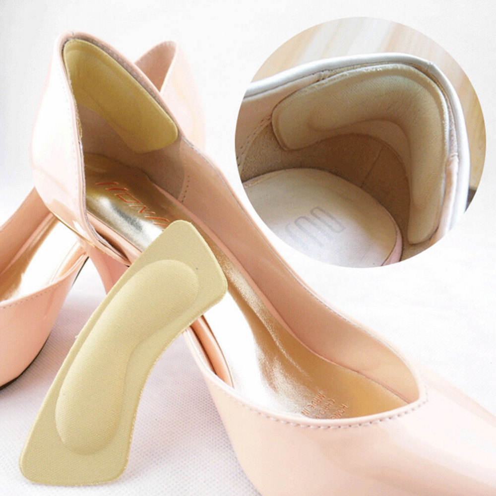 1Pair Thick Fabric Sticky Back Heel Grip Shoe Sponge Cushion Insole Pad Liners Shoe Insoles High Heel Insert Pad Heel Inserts