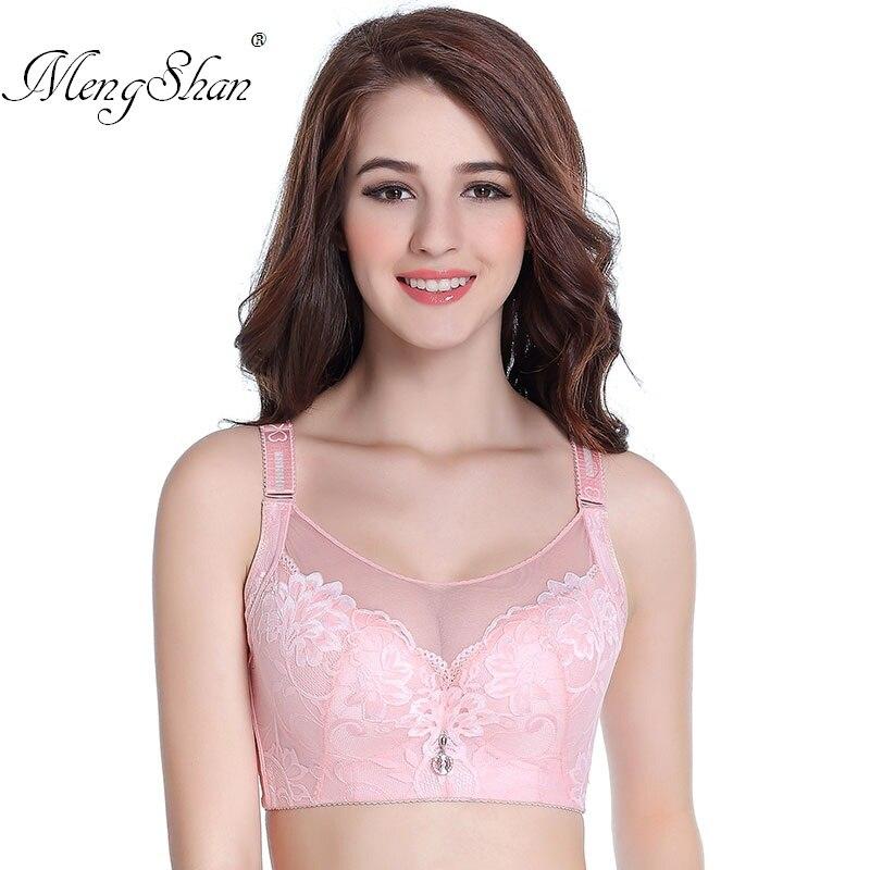 MengShan Bra of large size for women Lace breast wipe plus size bra Deep V Sexy CDE Cup Gathering big size bra 46E 105E lingerie in Bras from Underwear Sleepwears