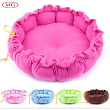 Solid Round Shape Pumpkin Pet Cushion Drawstring Design Warm Cozy Velvet Pet Bed for Small Cat Puppy Dog