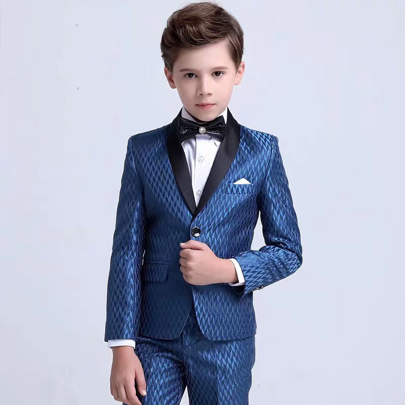 Blue One Buttons Boy Suits Shawl Lapel Elegant Suit for boy Children costume wedding Party Tuxedos boys blazer (jacket+pant)Blue One Buttons Boy Suits Shawl Lapel Elegant Suit for boy Children costume wedding Party Tuxedos boys blazer (jacket+pant)