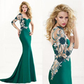 Green Mermaid Evening Dresses Appliques Long Sleeve Party Dresses Formal Dresses Vestidos De Festa Longo Caftan Dubai Abaya