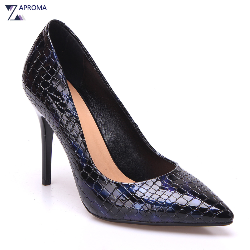 Hot 2018 Sexy Pointed Toe Stiletto Women High Quality Thin Heel Pumps Slip On Super High Heel Black Blue White Shoes Snakeskin new arrival blue and white porcelain pattern stiletto heels pretty women glittering crystal pointed toe pumps high quality shoes