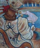 Handgemachte Moderne Ölgemälde Abstrakte-am Nouveau Cirque der Tänzer und Fünf Gestopft Shirts von Henri de Toulouse-Lautrec