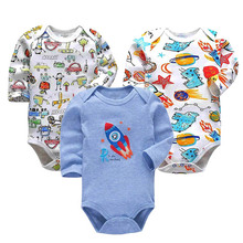 3 pcs/lot Newborn Bodysuit Long Sleeve Girl Clothes Cotton Baby boy Kids Jumpsuit Boy Outfits Cute print Clothing