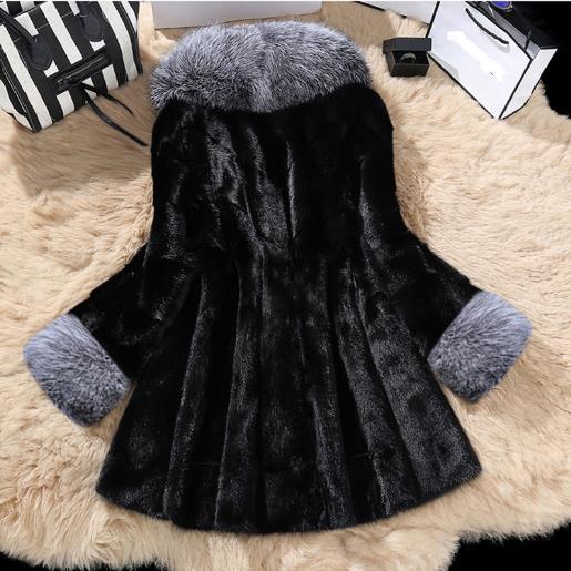Longues Manteaux Manches De Col Blanc Renard À Hiver Vison Femmes Plus Femme Taille Faux G763 Fourrure 2019 Vestes noir Sexy La Grand EfpfAq7w4