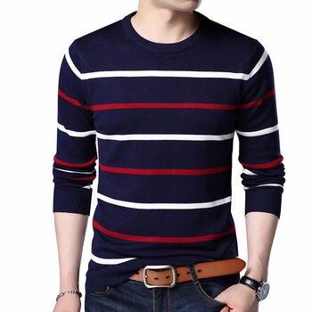 Sweter męski odzież marki 2020 jesienno-zimowa wełna dopasowany obcisły sweter męski w stylu casual, w paski Pull Jumper Men