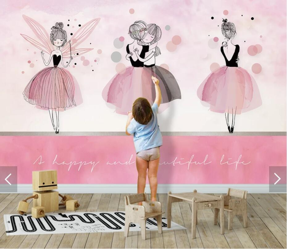 Pink Girls Wallpaper Kids Bedroom Wall Papers 3d Wall Murals Wallpapers For Children Room Wall Painting Canvas Mural Custom