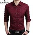 Плюс Размер 5XL Мужские Рубашки Платья 2016 Весна Осень Новый хлопка С Длинным Рукавом Бизнес Рубашки Мужчины Тонкий Горошек Camisa ZHY2124