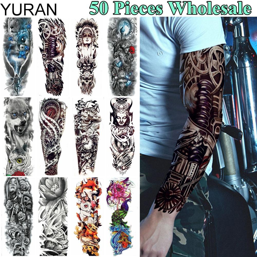 YURAN 50 Pieces Wholesale Long 48x17CM Tattoo Temporary Full Machine Arm Leg Tatoo Men Women Body Art Tattoo Flower Stickers