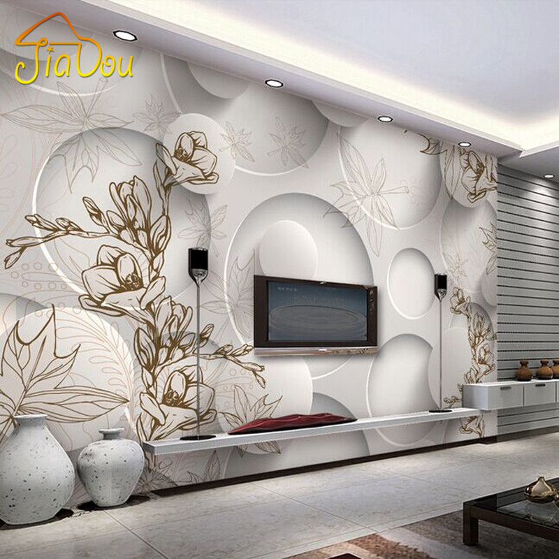 Custom Photo Wall Paper 3D Stereo Magnolia Circle Mural Wallpaper Living Room Sofa TV Backdrop Modern Seamless Wall Covering