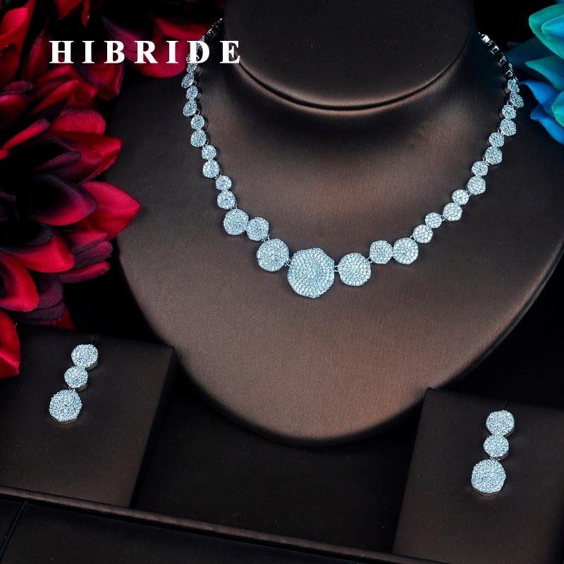 HIBRIDE Luxury Micro CZ Pave Flower Dubai Jewelry Sets For Women Bride Necklace Set Wedding Jewelry