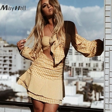 MayHall Plaid Off shoulder Summer Two pieces set Dress Lantern sleeve Ruffles Bow Tie up Holiday vestido conjunto feminino MH148