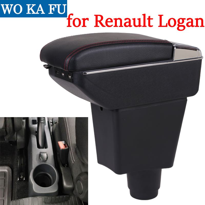 Para Renault Logan reposabrazos caja universal coche centro de la consola caja accesorios de modificación de doble criado con USB
