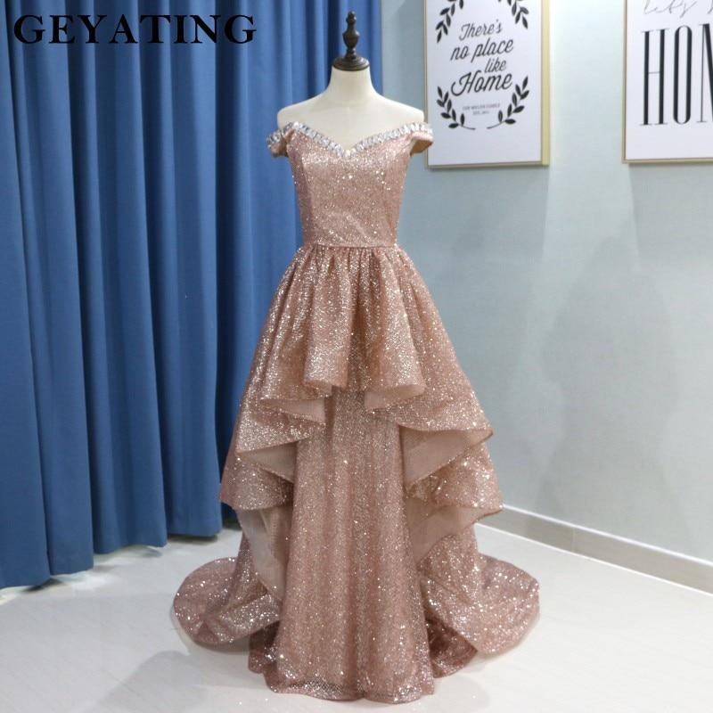 2019 Glitter Rose Gold Prom Dresses Sexy Off Shoulder Crystal Long