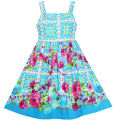 Sunny Fashion Girls Dress Sleeveless Halter Peony flower Blue Pink Cotton 2017 Summer Princess Wedding Party Dresses Size 4-10