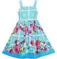 Sunny Fashion Girls Dress Sleeveless Halter Peony flower Blue Pink Cotton 2017 Summer Princess Wedding Party Dresses Size 4-10