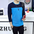 2016 New Casual Cotton Slim Camisetas Masculina Warm Long Sleeve Patchwork Mens T Shirts