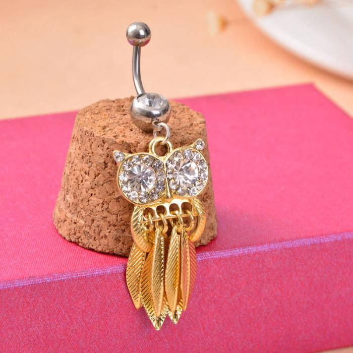 HTB1nZOEPpXXXXboaXXXq6xXFXXXH Belly Button Piercing Jewelry Crystal Owl Dangle Belly Button Ring For Women - 4 Colors