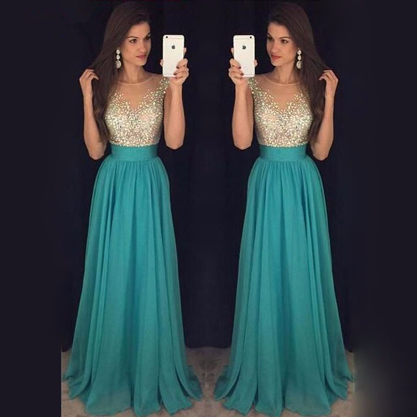 Green Long Crystals   Prom     Dresses   2017 Chiffon Beaded Floor Length Women Evening Gowns   Dress   Custom Made Vestidos De Festa