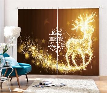 Modern Fashion Christmas elk tree Printing 3D Blackout Curtains For Bedding room Living room Hotel Drapes Cortinas Para Sala
