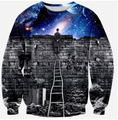2016 New fashion women men galaxy space print pullover hoody 3d galaxy sweatshirts hoodies blouse tops moleton plus size S-XL