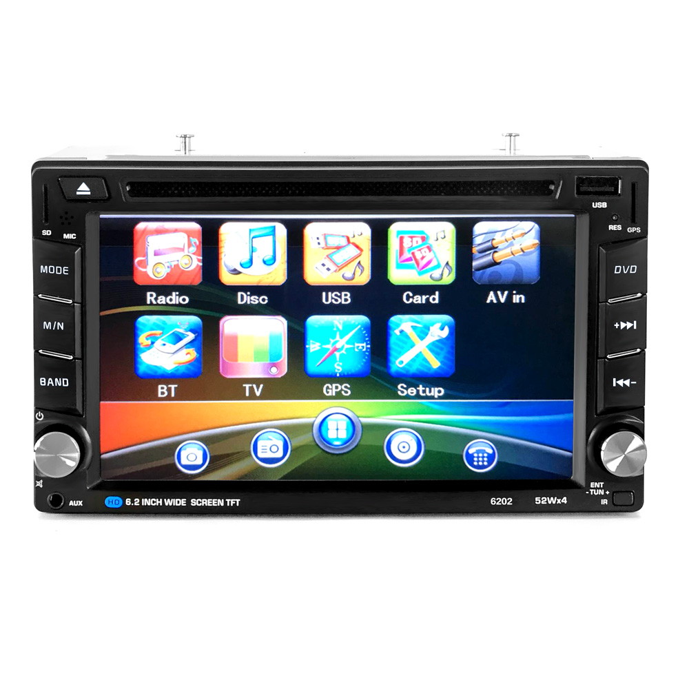 Universal 6.2 Inch 2 Din Car Bluetooth Touchscreen CD DVD