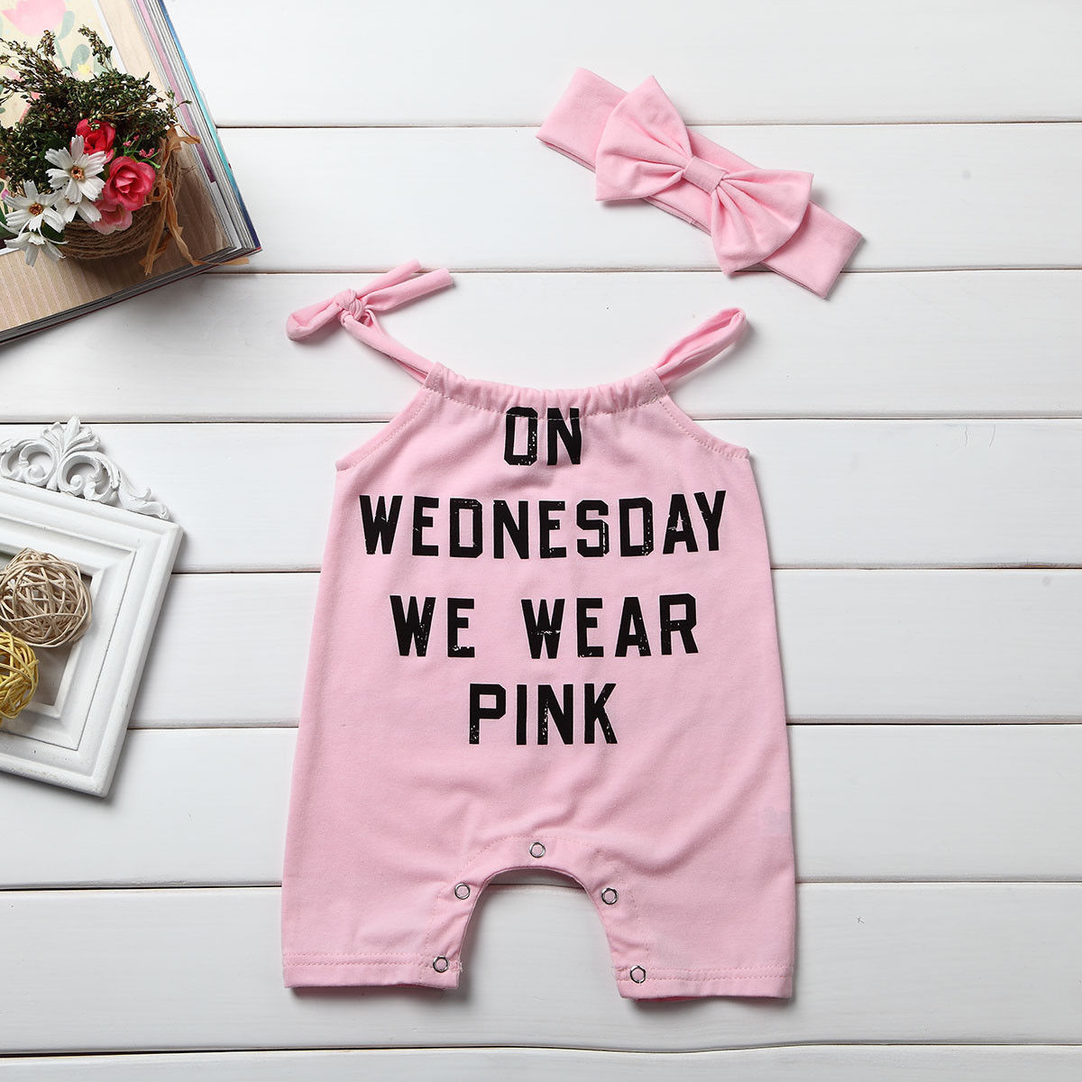 2017 New Cute Pink Kids Newborn Baby Girl Summer Sleeveless Romper Jumpsuit Outfit Set Clothes Headband baby clothing summer infant newborn baby romper short sleeve girl boys jumpsuit new born baby clothes